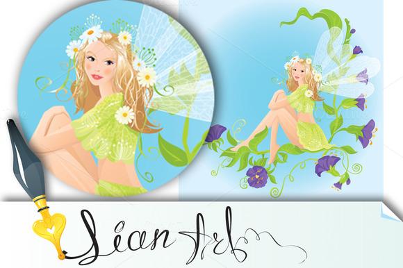 Fairy Sitting On Beautiful Flowers