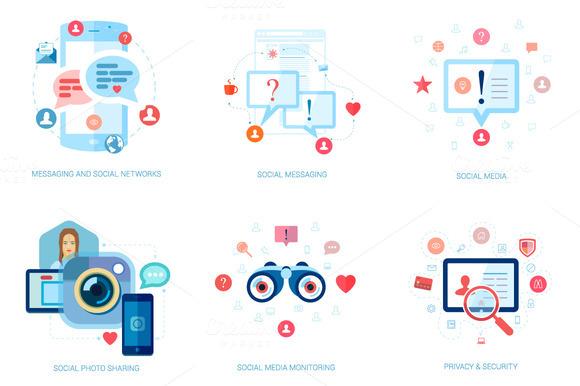 Flat Design Socialmedia Icons