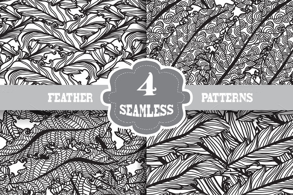 4 Feather Seamless Patterns