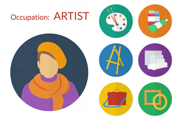 Vector Set Of Flat Icons For Artist