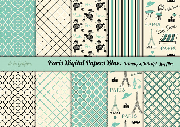 Paris Doodles Digital Papers