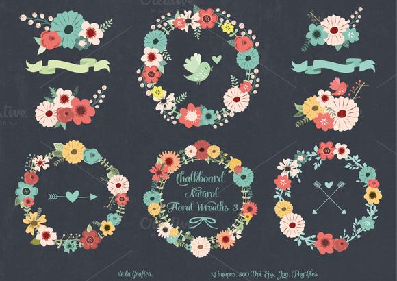 Chalkboard Natural Floral Wreaths 3