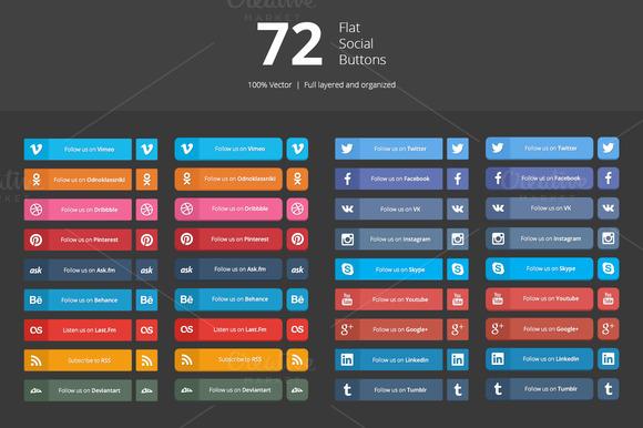 72 Flat Social Buttons
