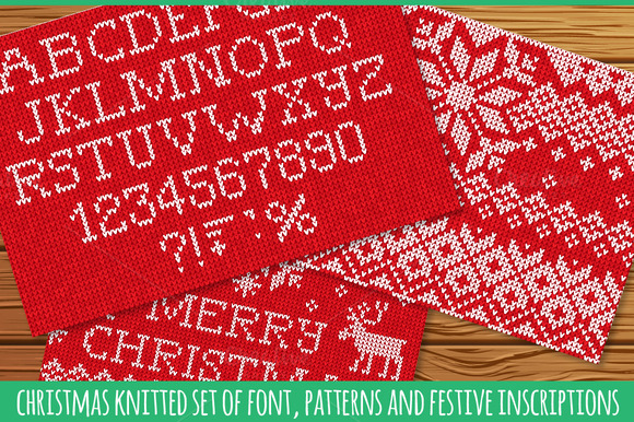 Set Of Knitted Font And Patterns
