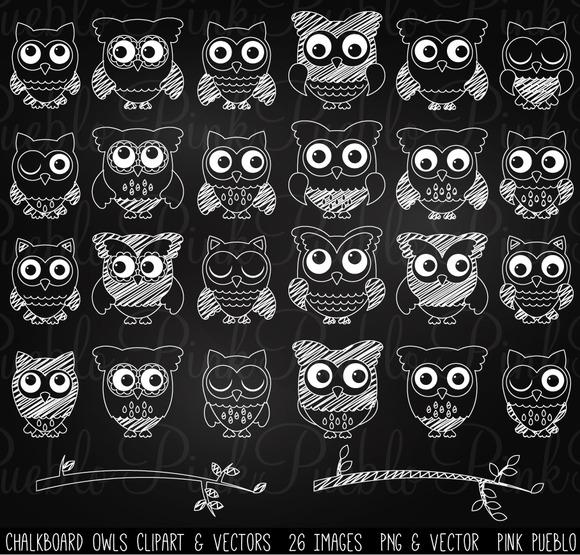 Chalkboard Owls Clip Art Vectors