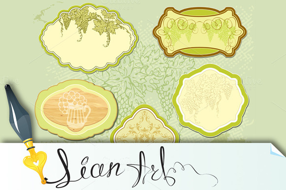 Set For Wine Labels Or Menu Design
