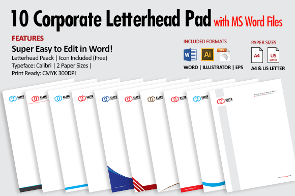 10 Letterhead Pad With MS Word Files
