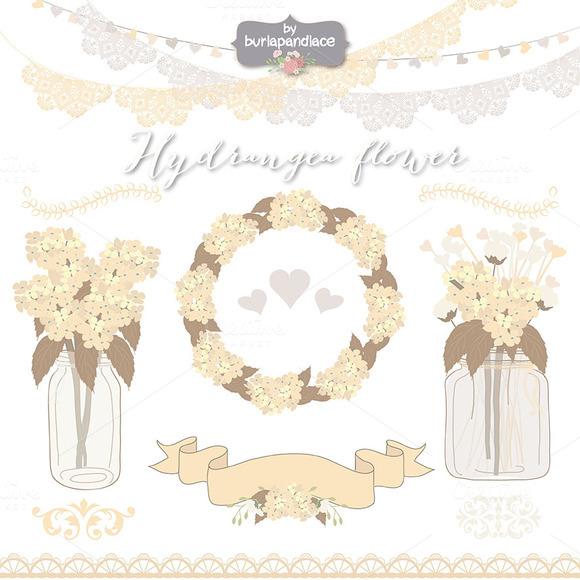 Hydrangea Taupe Crem Clipart