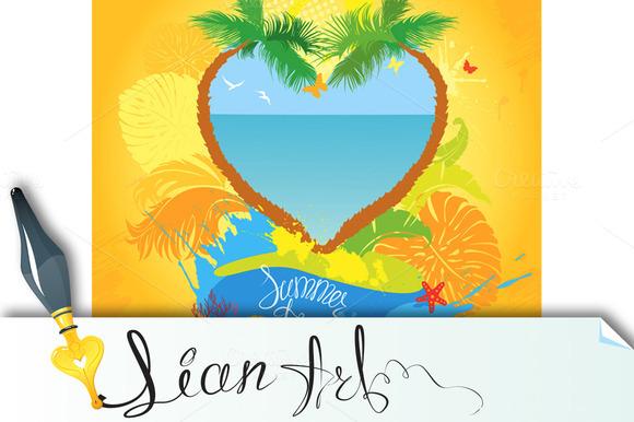 Two Palm Tree In Heart Shape