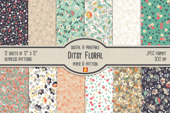 Ditsy Floral Digital Paper Pattern