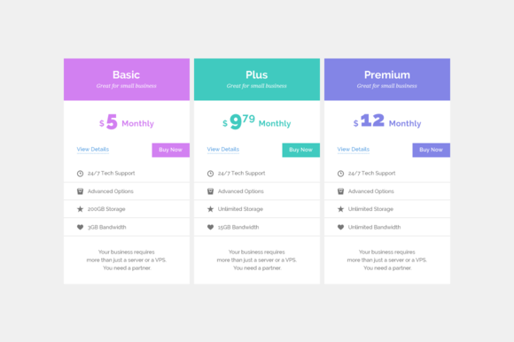 Pricing Tables Mockup