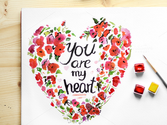 Heart Watercolour Floral Frame