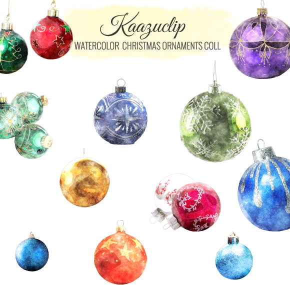 Watercolor Christmas Ornaments