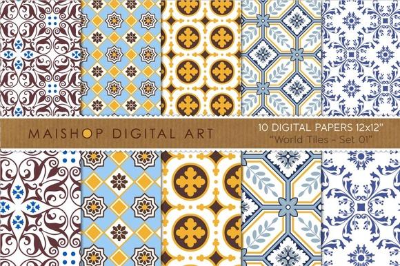 Digital Paper-World Tiles Set 01