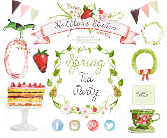 Spring Tea Party Watercolours