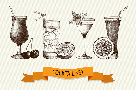 Ink Hand Drawn Cocktail Collection