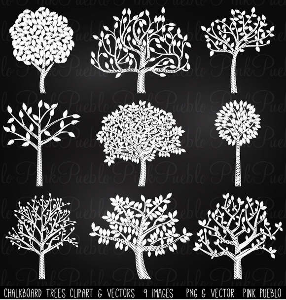 Chalkboard Trees Clip Art Vectors