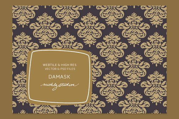 VECTOR PSD Damask Tile Patterns
