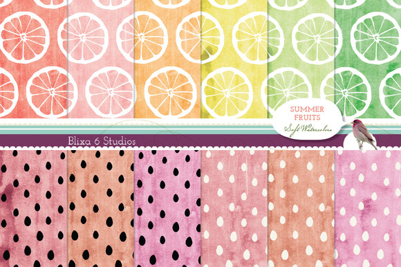 12 Summer Fruit Digital Patterns