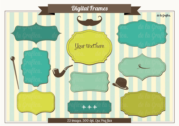 Digital Frames Blue Green