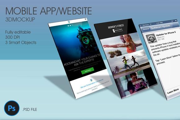 Mobile App Website 3D Mockup