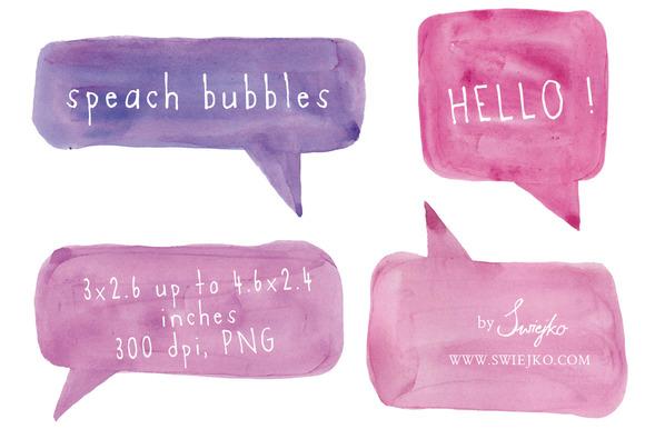Speech Bubbles Watercolor