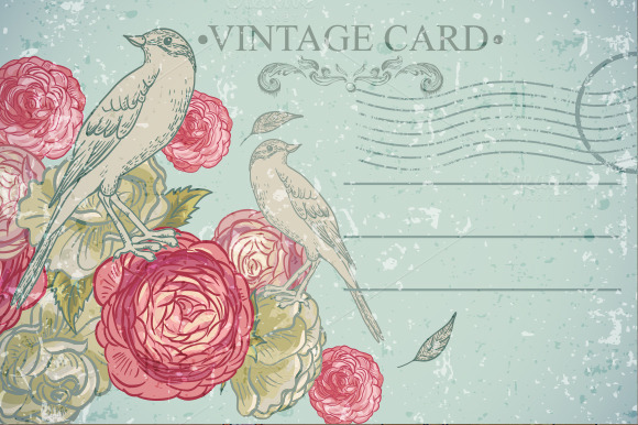 Floral Vector Vintage Card With Bird