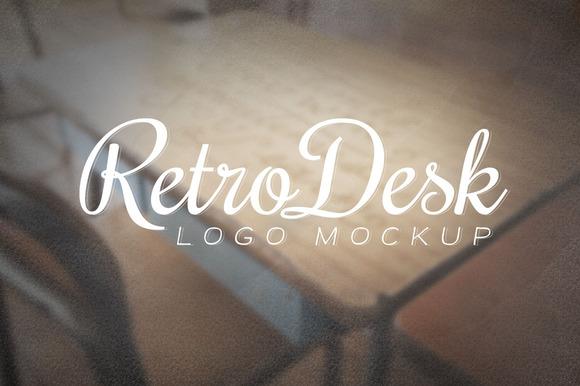 Retro Desk Logo Mockup