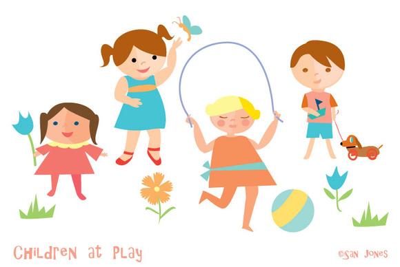 Children At Play Retro Kids