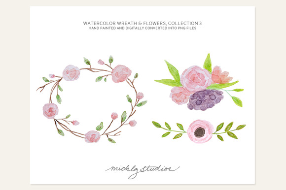 3 PNG Watercolor Flowers Wreath