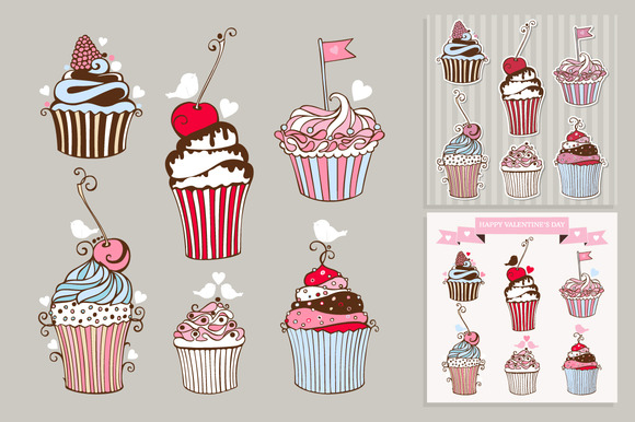 Vector Set Of Decorative Cupcakes