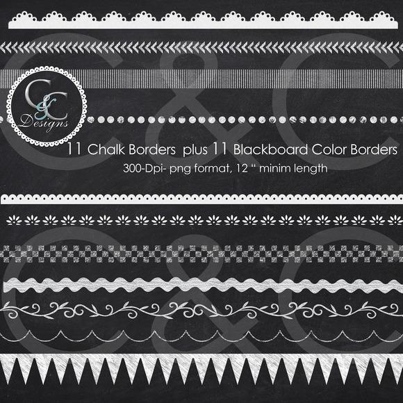 22 Chalkboard Borders Clip Art Pack