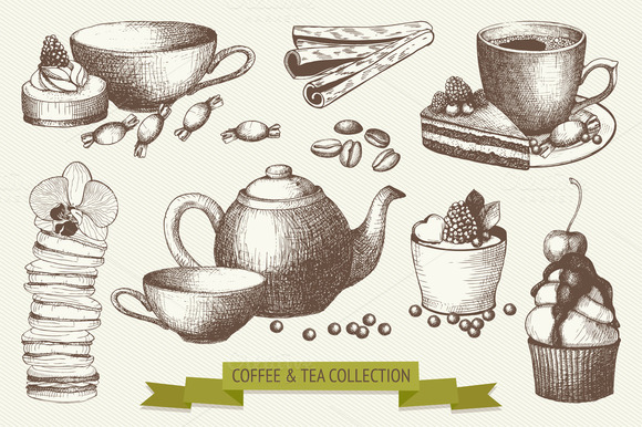 Vector Set Of Coffee And Tea Sketch
