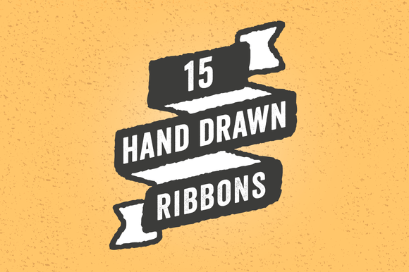 Hand Drawn Ribbons Set 15 Pieces