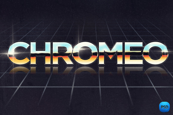 80s Chrome Text Effect PSD