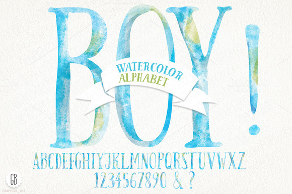 Watercolor Baby Boy Alphabet
