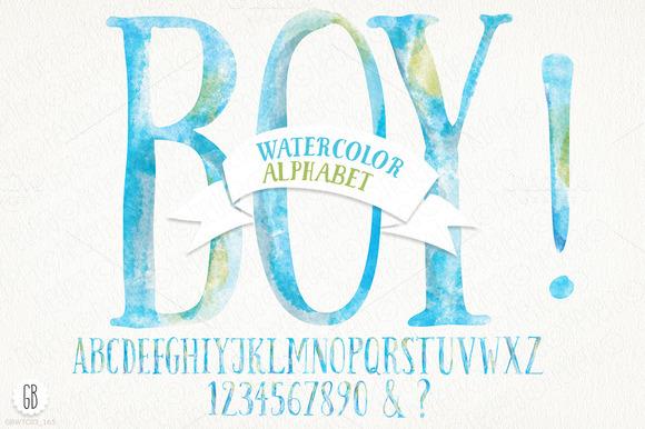 Watercolor Baby Boy Alphabet