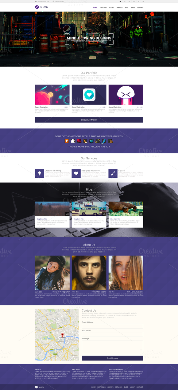 Sliced PSD One-Page Template