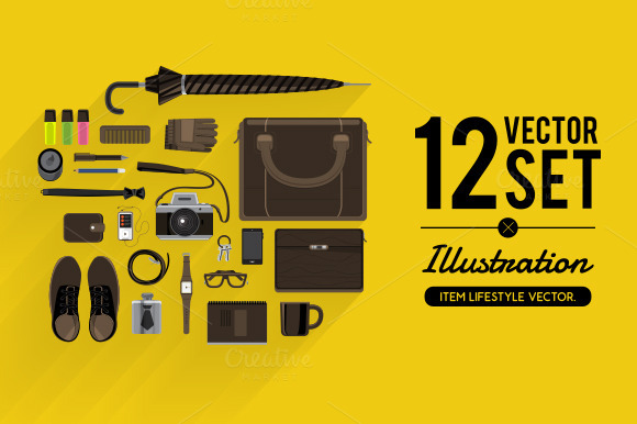 Vector Set Illustrate Item Lifestyle