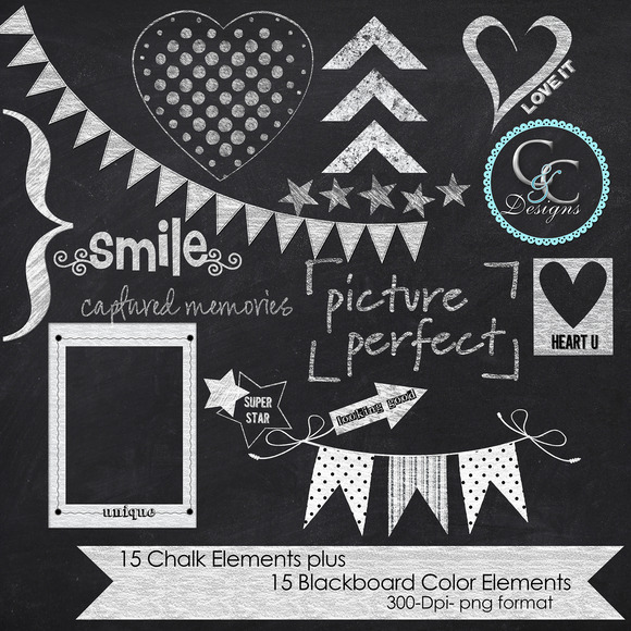 30 Chalkboard Elements-Clip Art