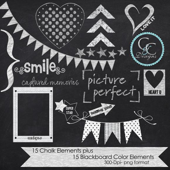 30 Chalkboard Elements-Clip Art