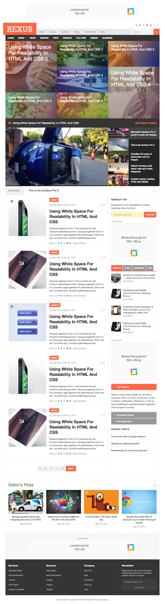 Rexus Responsive HTML Template