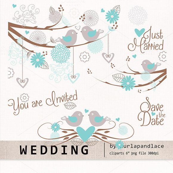 Wedding Birds Clipart Flower