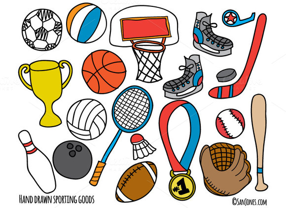 Hand Drawn Sporting Goods Vector