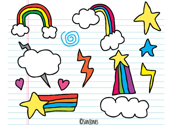 Sketchy Rainbow Sky Vector