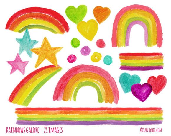 Hand-painted Watercolor Rainbows
