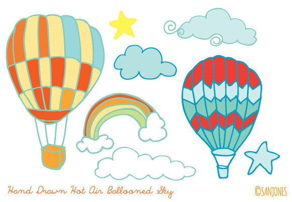 Hand Drawn Hot Air Balloons Vector