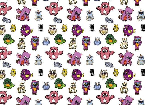 Seamless Pattern Set Of Owl