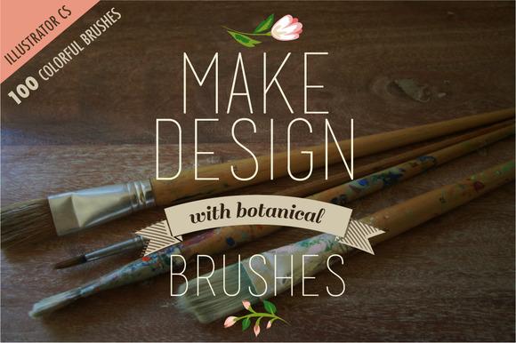 100 Colorful Botanical Brushes
