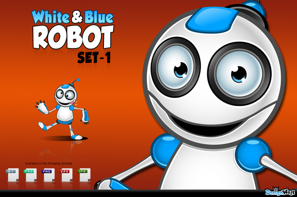 White Blue Robot Character Set 1